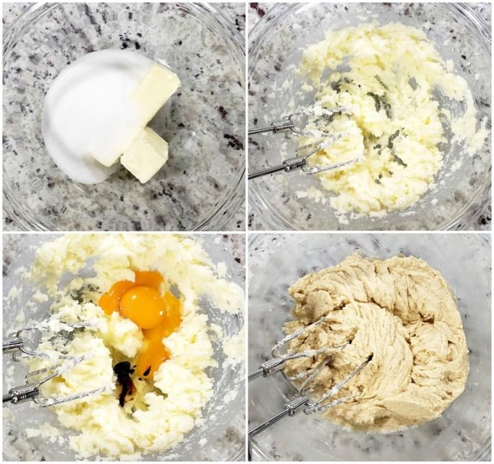Combining wet ingredients of cookie dough.