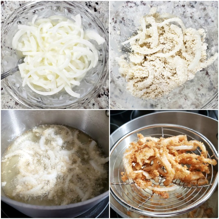 Frying onions in oil.