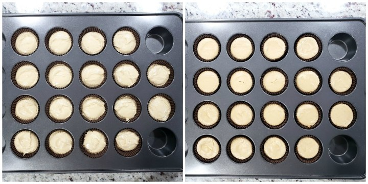 Before and after baking cheesecakes.
