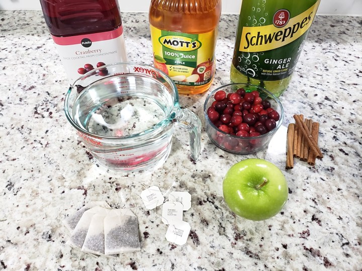 Ingredients for Christmas Punch.