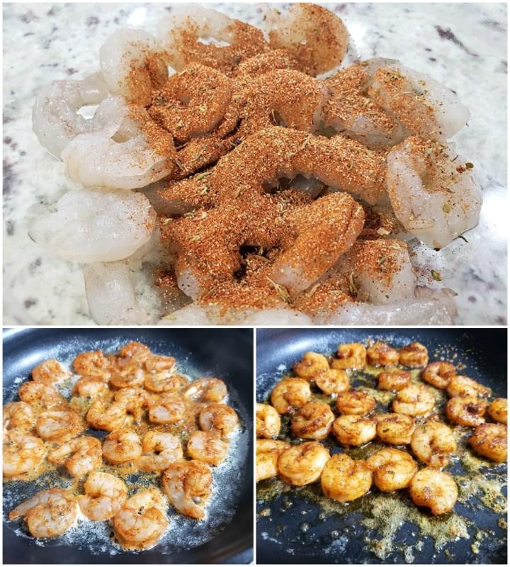 Coating shrimp in a cajun seasoning and pan frying.