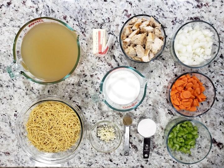 Ingredients to make soup.