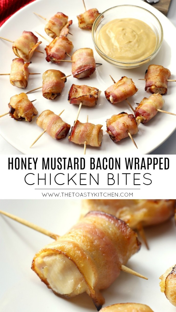 Honey Mustard Bacon Wrapped Chicken Bites by The Toasty Kitchen