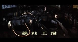 Railroad ties being processed in a steel factory in Japan.
