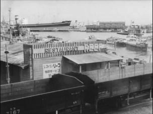 I am waiting 1957 Yokohama waterfront railway train