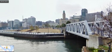 Yokohama waterfront canal bridge customs building queens tower