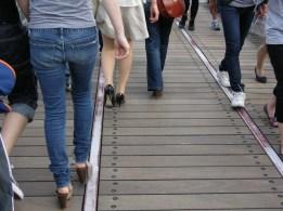 Yokohama waterfront train walkway woman