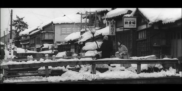Zero Focus snowy houses Kanazawa