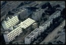 Apartment buildings leaning falling over after earthquake Japan