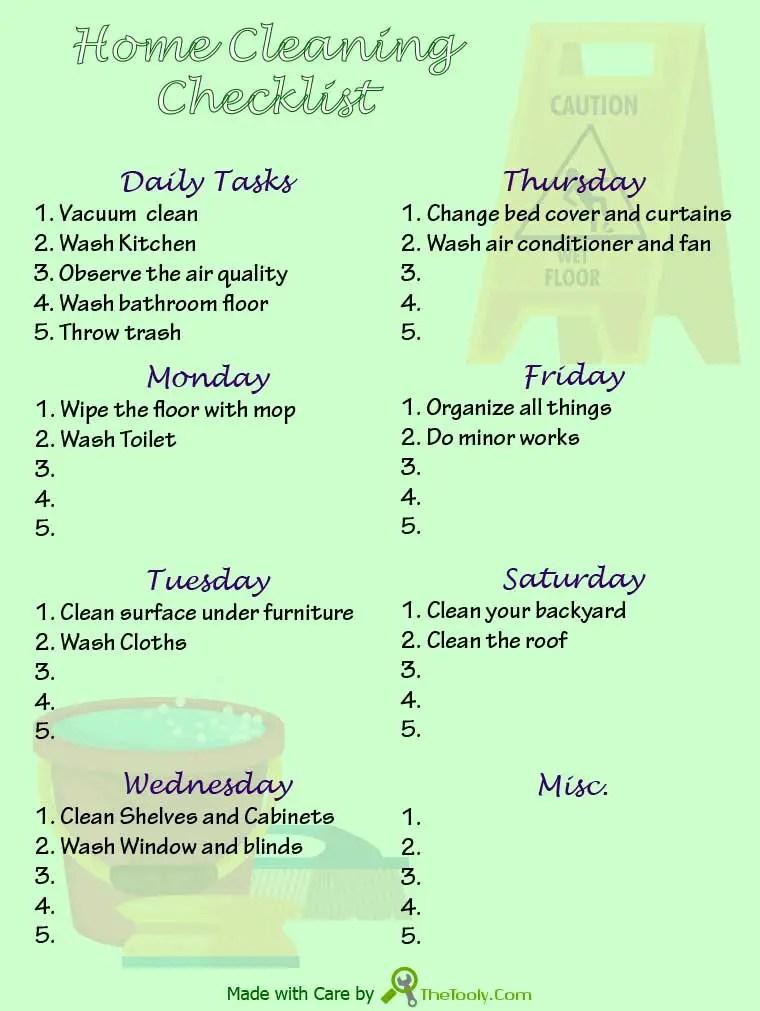 room clean checklist