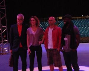 The four presenters of the show. Left to right: Jon Bentley, Amy Williams, Jason Bradbury, Ortis Deley