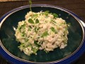Pea shoots and snow pea risotto
