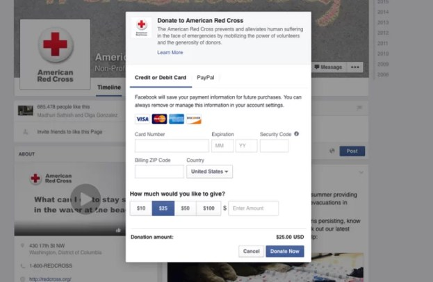 Facebook introduced a new 'Donate Now' call-to-action