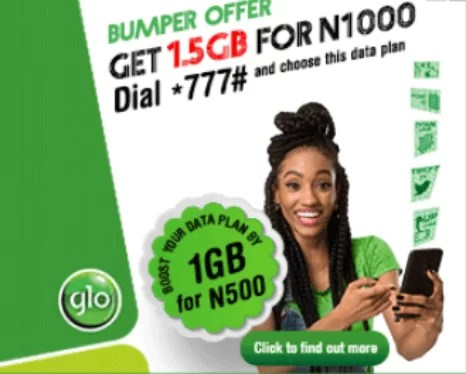 Glo 1GB for 500 Naira + 300MB for 200 Naira