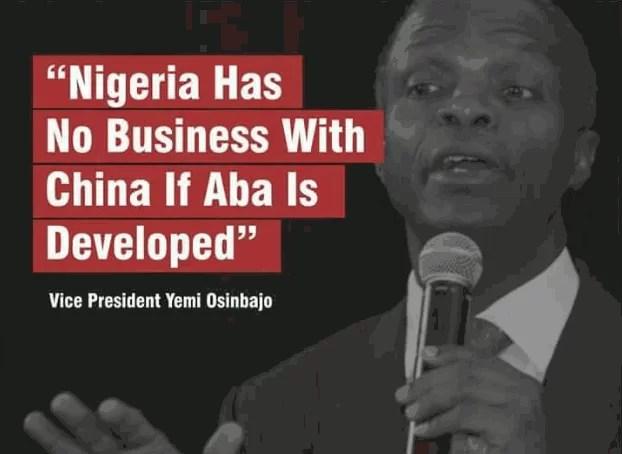 Vice president of Nigeria comparing Nigeria to China