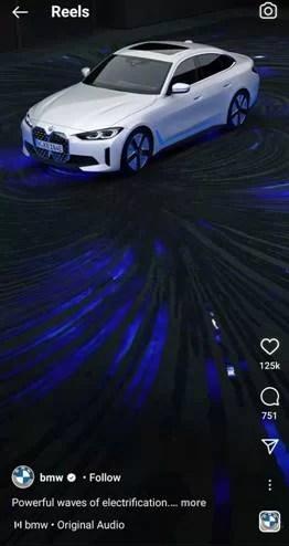 BMW advertise on Instagram reel