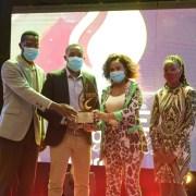Kenneth Kazooba, Isma Lule and Nakyanzi Rose of StarTimes receiving the awards