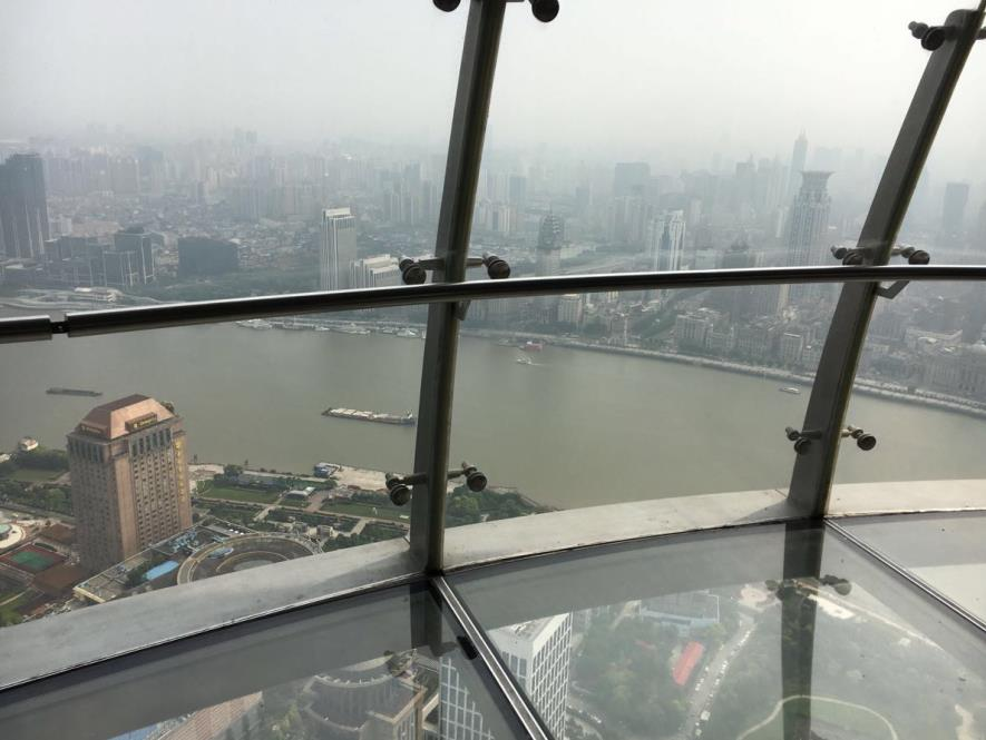 The glass floor on Oriental Pearl Tower