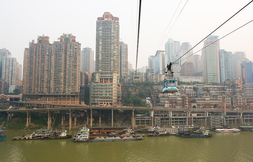 Cable car running through the Yangtze River