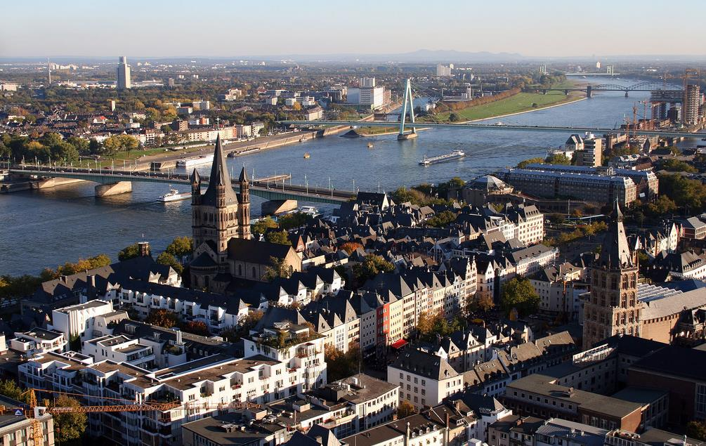 The Rhine seen from the viewing platform on Cologne Cathedral