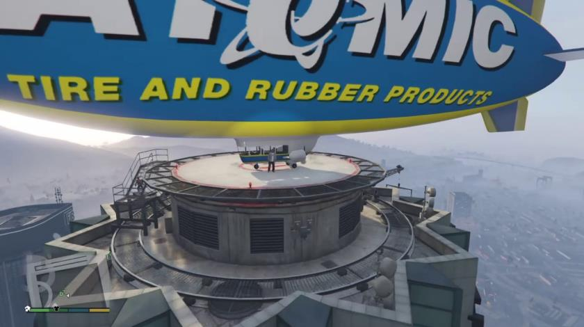 An Atomic Blimp landed on the helipad of Maze Tower