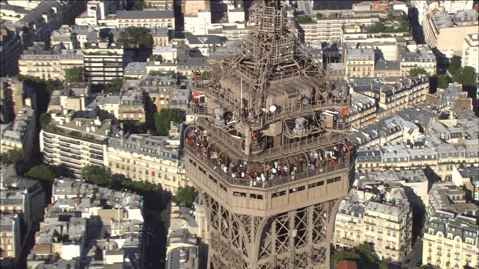 A close up view of the observation deck on Third Level of the Eiffel Tower