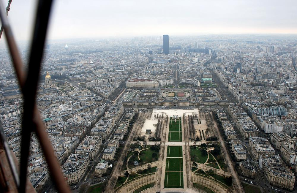 The view of Paris seen from the observatory on Third Level of the Eiffel Tower