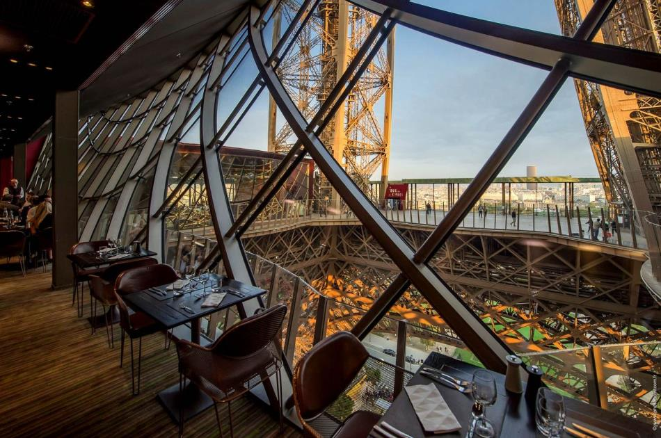 A restaurant in the Eiffel Tower