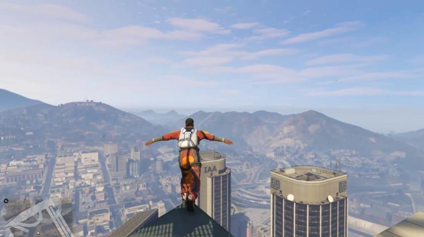 Franklin prepares to jump of the Maze Bank Tower