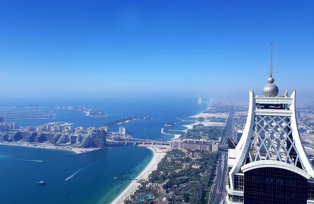 Palm Jumeirah, Burj Al Arab and Elite Residence seen from the Princess Tower