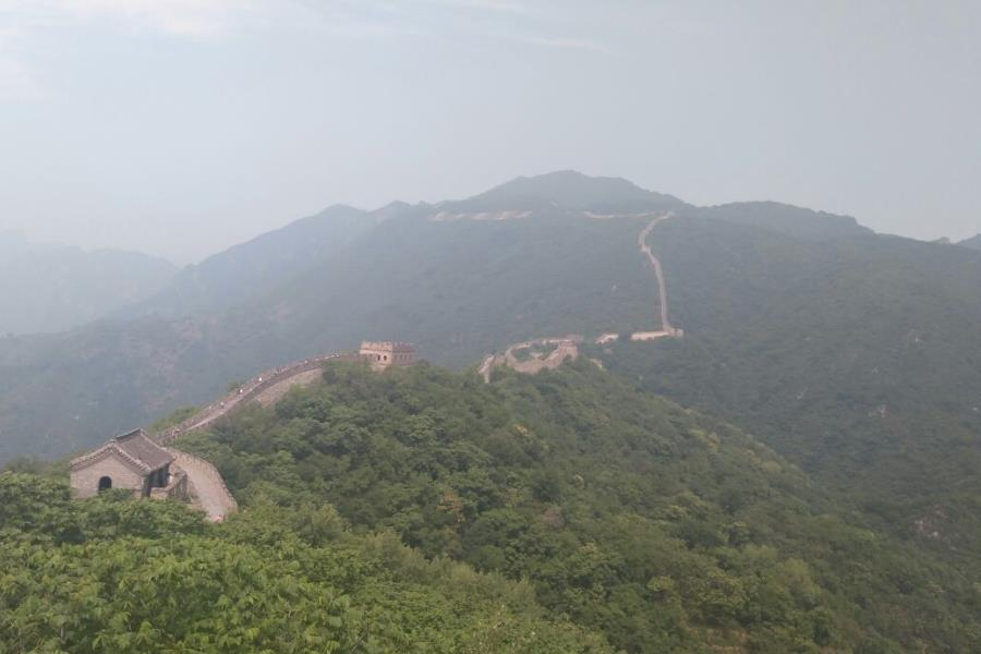 The higher section of the Great Wall in the distance