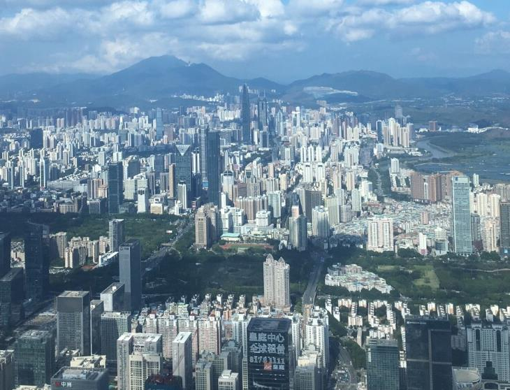 The skyline of Luohu district seen from the observation deck