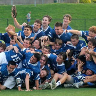 Members of the boys lacrosse team pose with their championship plaque after winning the Mercer County Tournament with an 11–10 overtime win over Allentown High School on May 15.photo: Catherine Curran-Groome