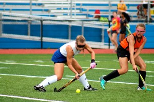 Trish Reilly '16 controls the ball in a match against Hamilton West High School on September 8. PHS went on to win the match 3–0. photo: Catherine Curran-Groome