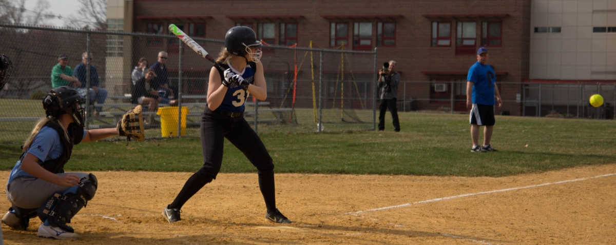 Nancy Gray '17 at the plate on Wednesday, April 15. The Little Tigers fell to Steinert High School 1–3 despite almost matching Steinert in the number of hits.  photo: Nathan Drezner