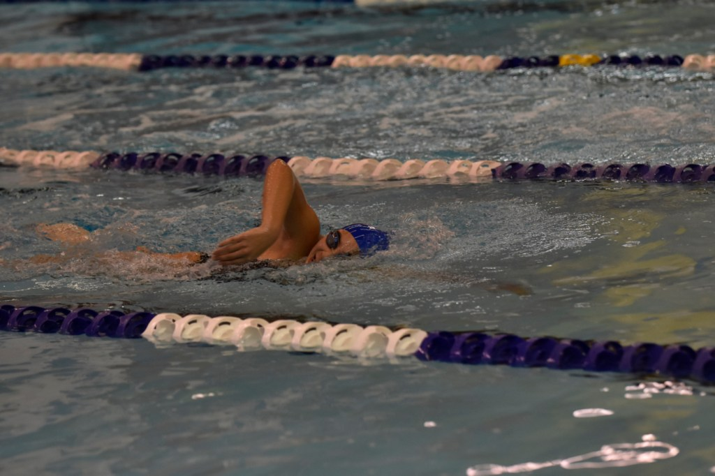 "<span class=""credit credit- ""><a href=""/credit/""Aaron/"" title=""View all of this person's work"">""Aaron</a></span> Emily Becker '19 swims the 500-meter freestyle against West Windsor-Plainsboro High School South. The team tied with a final score of 85–85."