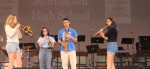 "(From left to right) Zoe O'Beirne '19, Naomi Barrales '19, Ashvick Awasthi '17, and Selia Gupta '18 practice in the PAC, where they performed for the NJ state final competition. They will perform again this Friday and Saturday with the PHS bands at Princeton's Jazz. photo by <span class=""credit credit- ""><a href=""/credit/""Aaron/"" title=""View all of this person's work"">""Aaron</a></span>"