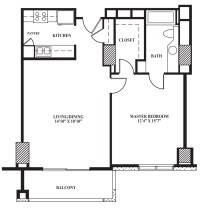 Floor Plan B | 742 sq ft - The Towers on Park Lane