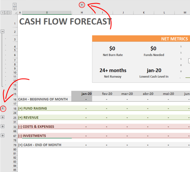 Find the fields to fill in your cash flow forecast