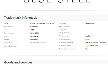 Zoolander Blue Steel Vodka, Shakira and a New Heineken Bottle – The latest European Trade Mark Applications