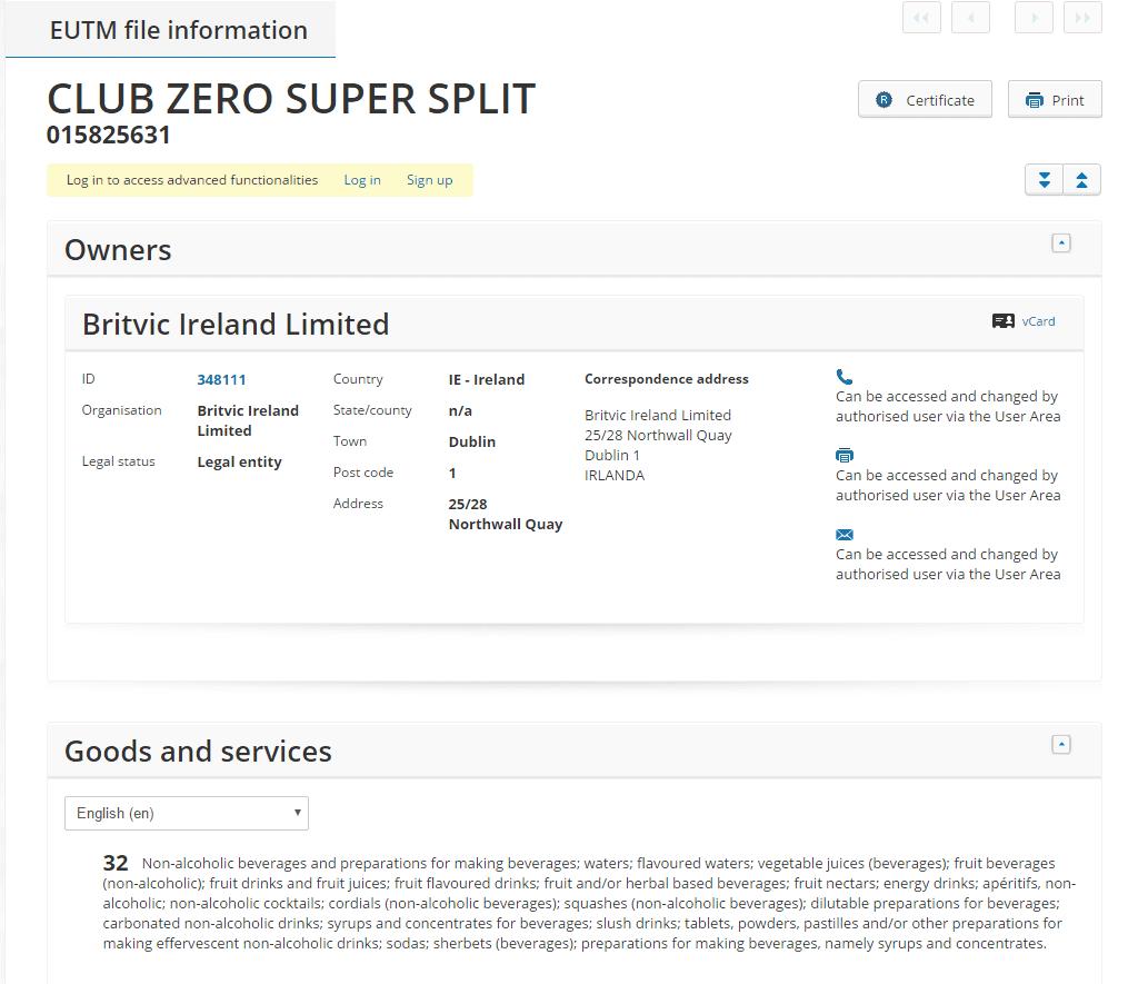 club-zero-super-split-eu-trademark-applicaiton