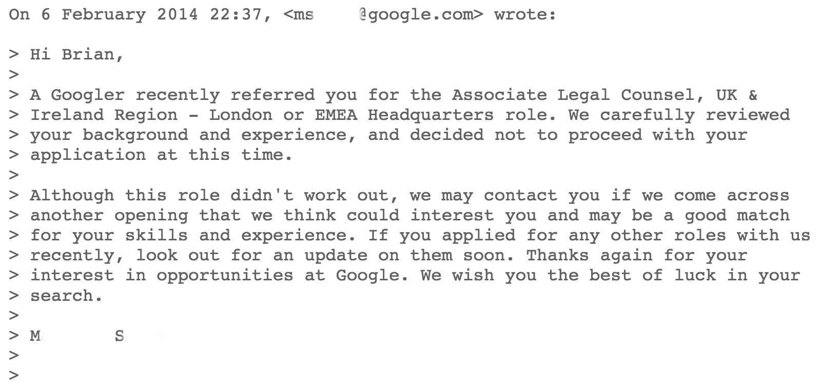 google-rejection