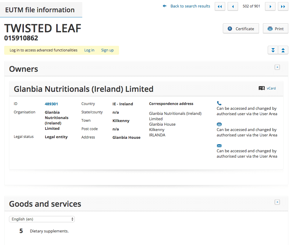 Optimum Nutrition or one of Glabias other subsidiaries are to release a dietary supplment called Twisted Leaf