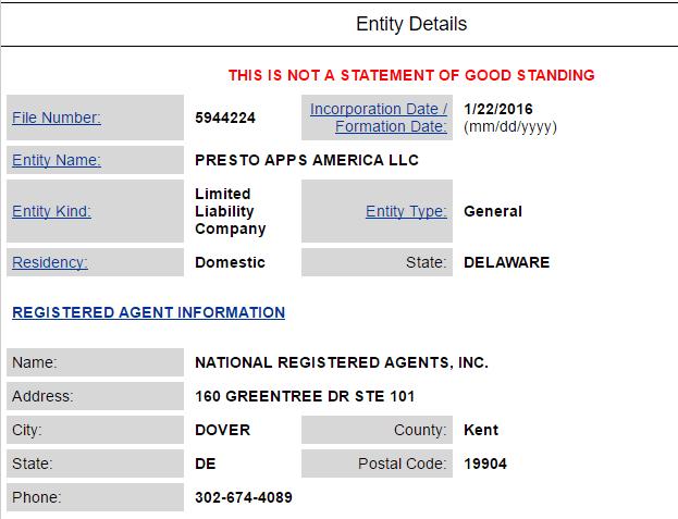 Presto Apps America LLC Delaware
