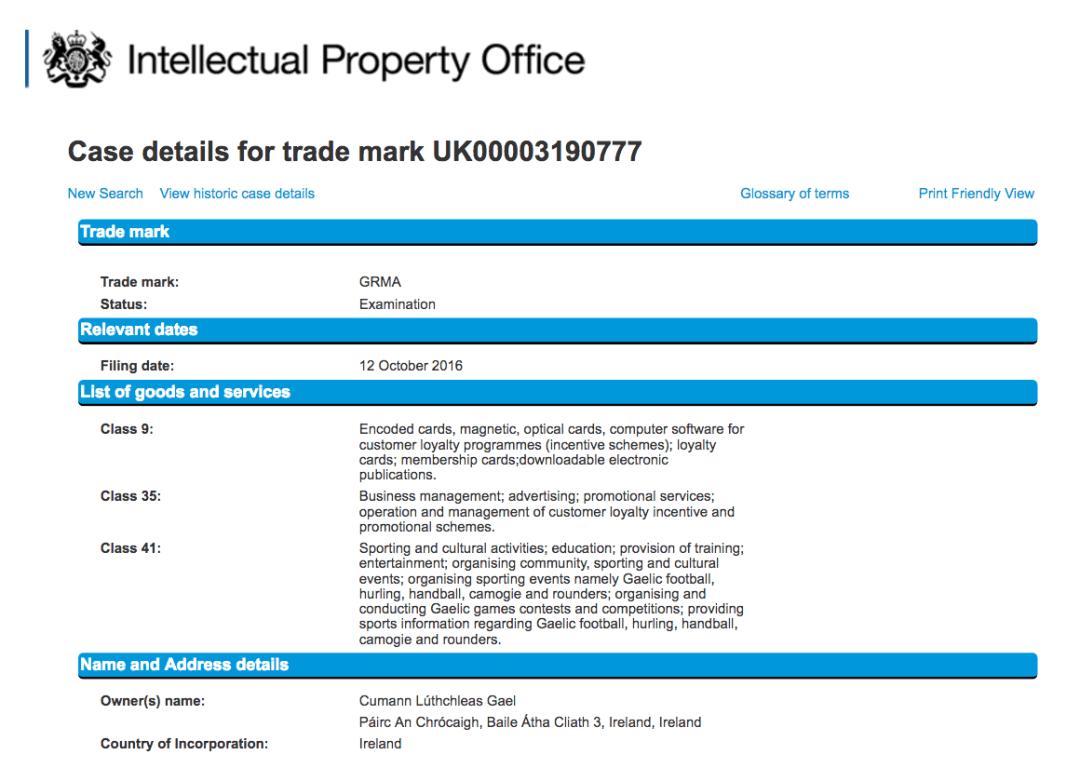 GRMA Trademark Application UK