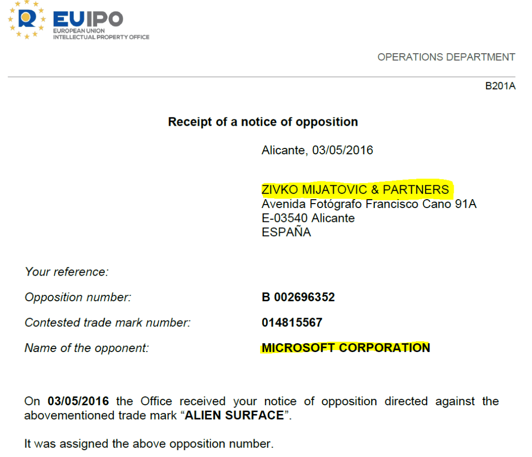 Sivko Mijatovic Partners Opposition For Microsoft Re Alien Surface