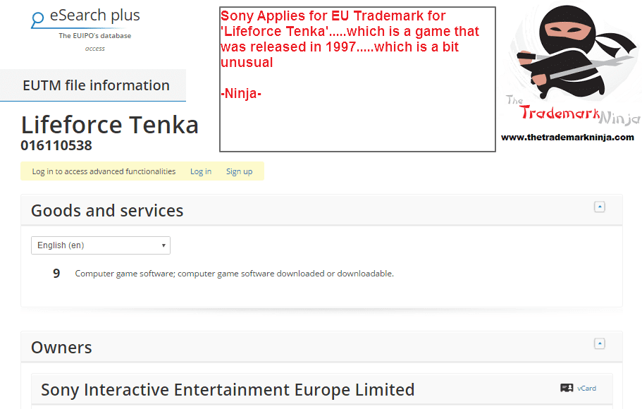 A trademark application was filed by @Sony @Sonyuk for LifeforceTenka this week Why
