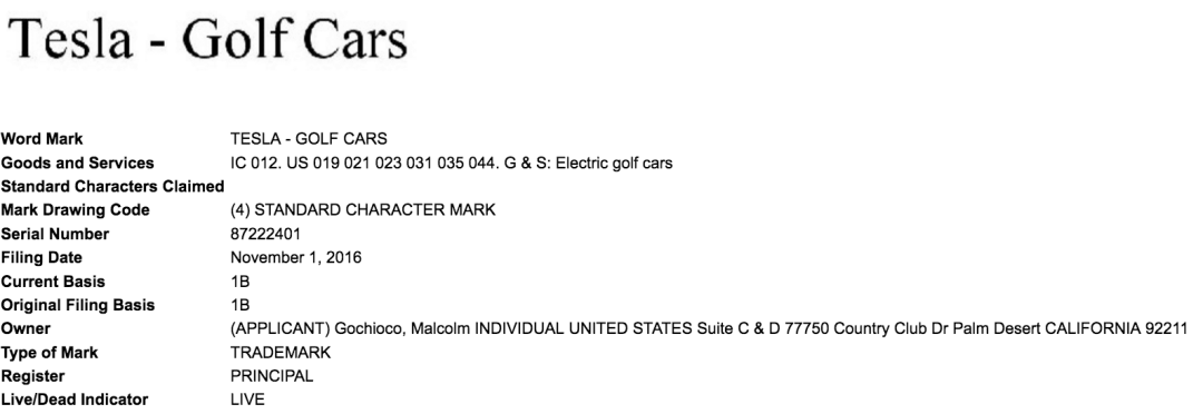 I Wonder Does Elonmusk Have Good Lawyers He Does No Chance Of This Guy Getting Trademark For Tesla Golf Cars Teslamotors Tesla