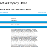 Uk Trademark Applications Filed with UK IPO To 07 November 2016