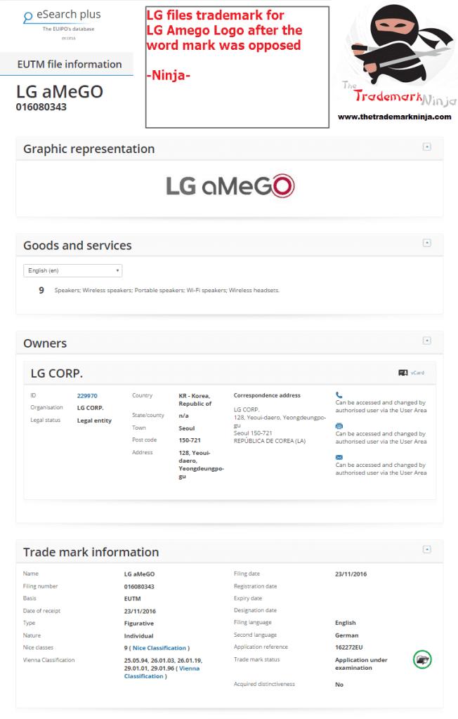 LG applies for LG Amego Tradmark LG <a href=